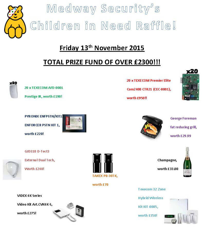 Children in Need Raffle Prizes